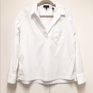 Theory Size Large White Wide Placket Popover Shirt
